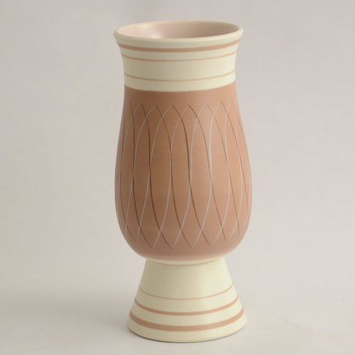 Earthenware vase with matte white and mauve glaze by Poole Pottery