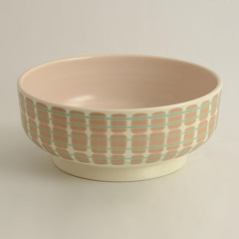 Earthenware bowl with white, brown and green glaze by Poole Pottery