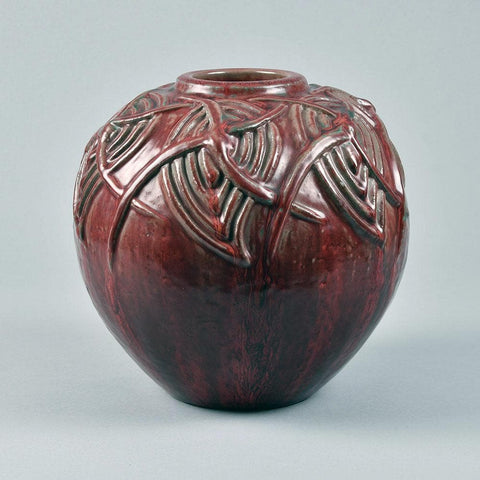 "Axel Salto for Royal Copenhagen  ""Living Stones"" vase with oxblood glaze F8313"