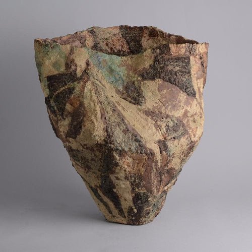 Very large stoneware vase with matte brown glaze by Ewen Henderson