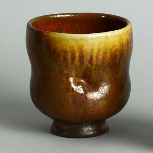 Unique stoneware tea bowl by  Chris Gustin N7235
