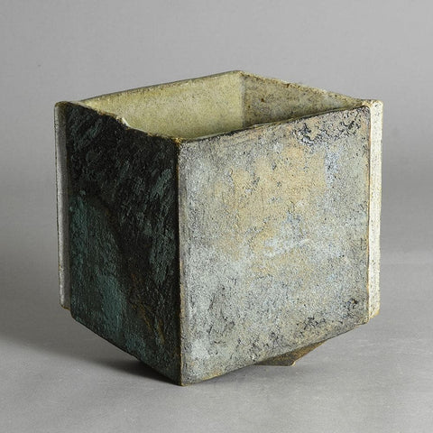 Gerald and Gottlind Weigel, own studio, Germany  Unique stoneware optical illusion vase with blue and gray matte glaze, 1996.