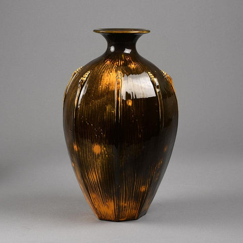 Svend Hammershoj for Herman A. Kähler Keramik, vase with black and yellow glaze F8212