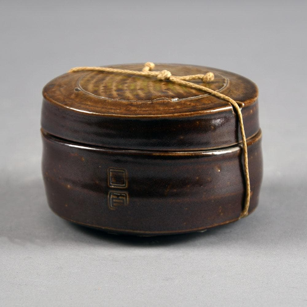 Unique stoneware jar with lid and string tie by Byron Temple N8331a