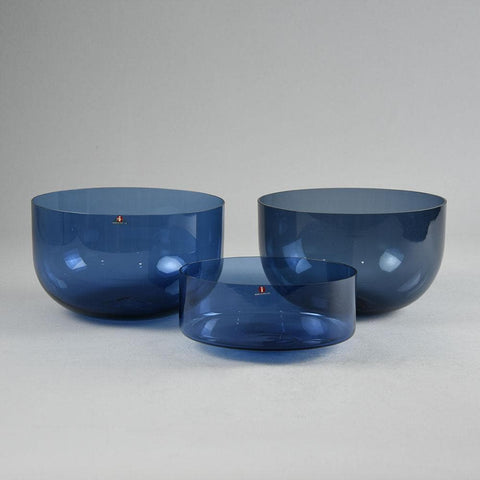 "Timo Sarpaneva for Iittala, three blue""i-glass"" bowls"