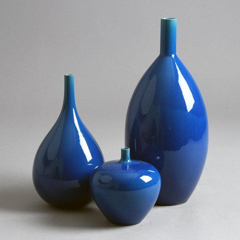 Group of vases with blue glaze by Carl Harry Stålhane for Rorstrand