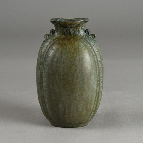 Arne Bang, own studio, Denmark, stoneware vase with matte blue and gray glaze