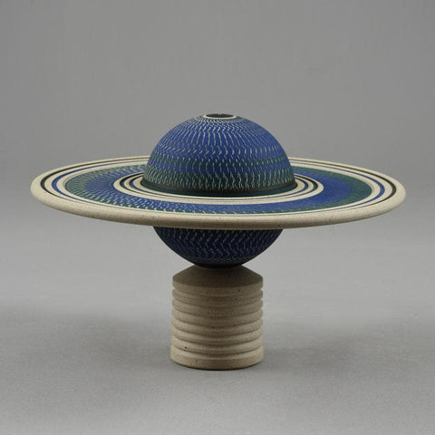 "Horst Göbbels, own studio, Germany, ""Saturn"" jar in blue and white"