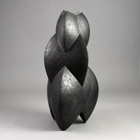 Joachim  Lambrecht monumental sculptural vessel with black glaze E7315