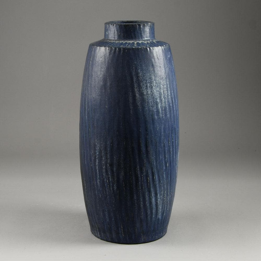 Gunnar Nylund for Rorstrand Rubus large stoneware vase with blue matte glaze F8106