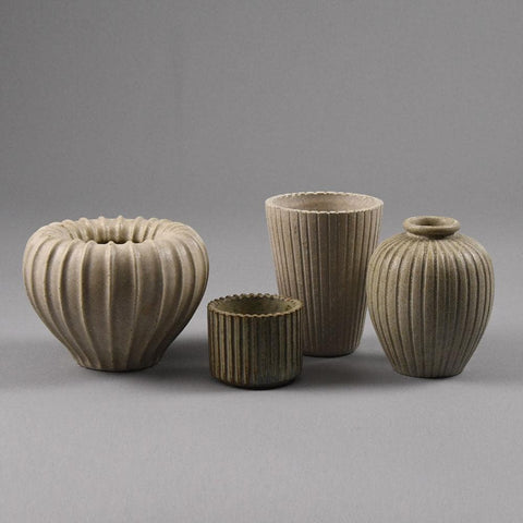 Group of  vases with white glaze by Arne Bang, Denmark