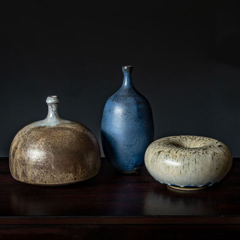 "Timo Sarpaneva for Iittala, three blue""i-glass"" decanters"