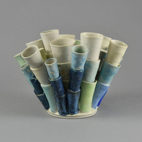 Beate Kuhn unique stoneware tube formed sculpture F8336