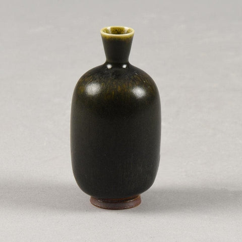 Berndt Friberg for Gustavsberg, miniature vase with brown haresfur glaze