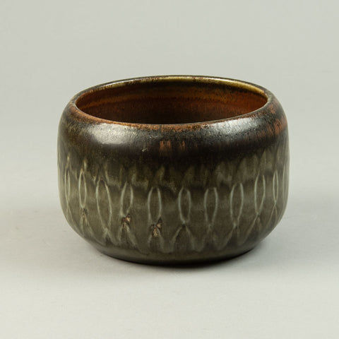Tapio Wirkkala for Rosenthal, Germany  Porcelain vase with black glaze with gold accents, 1970s.