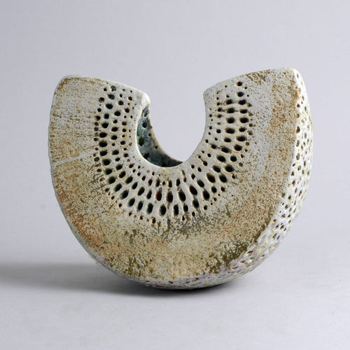 Unique stoneware wedge form vessel by Alan Wallwork N8193