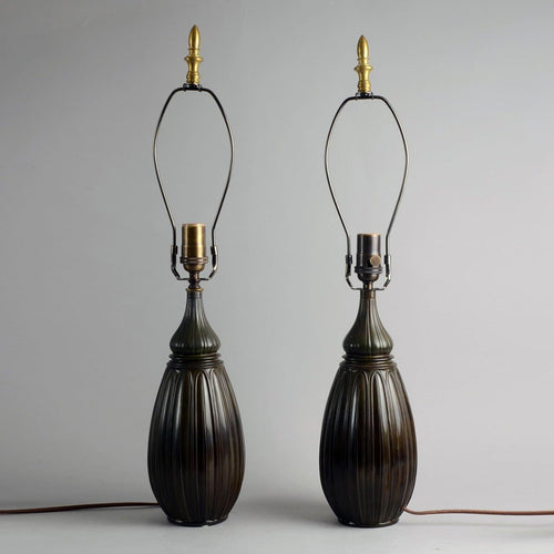 Pair of lamps in disko metal by Just Andersen N9391 and N9012