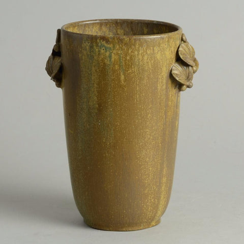 Vase with applied leaves and brown glaze by Arne Bang