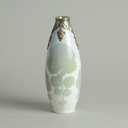Porcelain vase by with silver decoration by Anton Michelsen for Royal Copenhagen