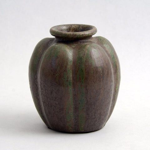 Lobed vase with green glaze by Arne Bang