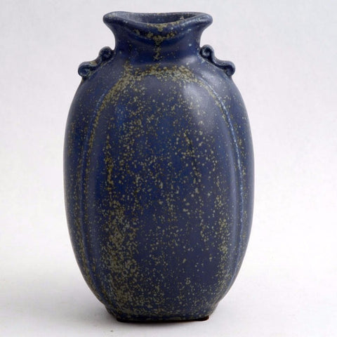 Flattened vase with dark blue glaze by Arne Bang