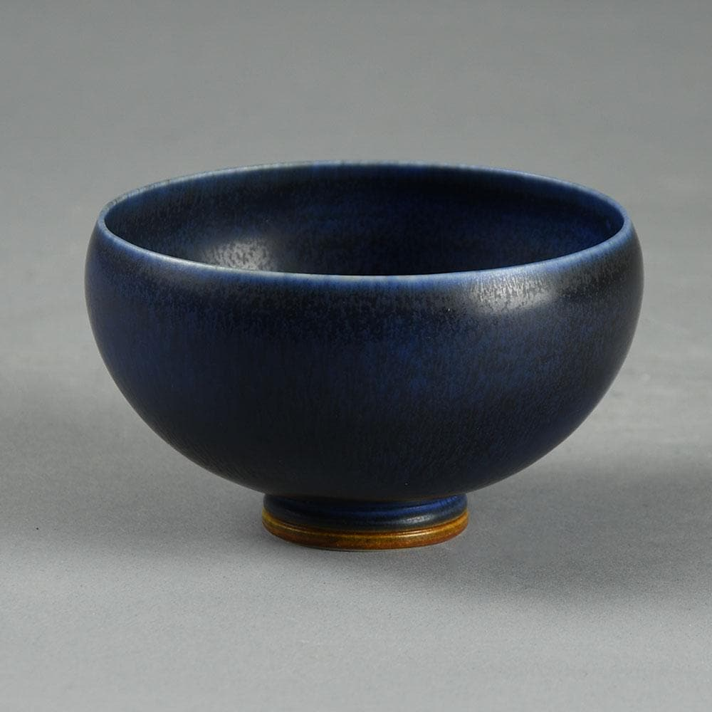 Berndt Friberg for Gustavsberg bowl with dark blue haresfur glaze E7222