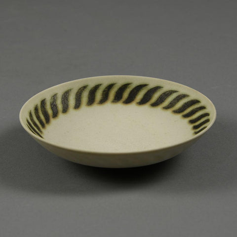 Inke Lerch Brodersen, Germany, stoneware bowl with brown and white patterned glaze B3814