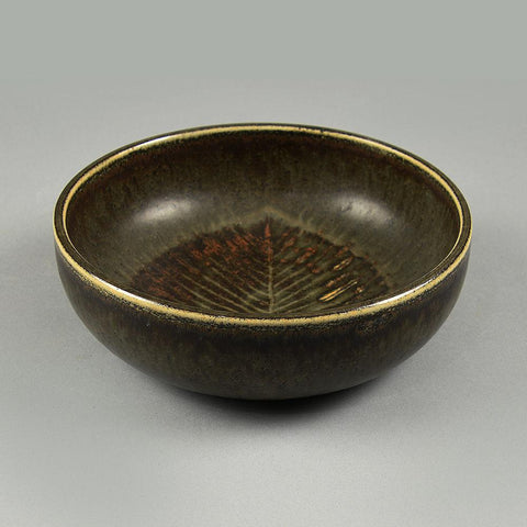 Carl Harry Stalhane for Rorstrand, bowl with incised leaf pattern and brown glaze