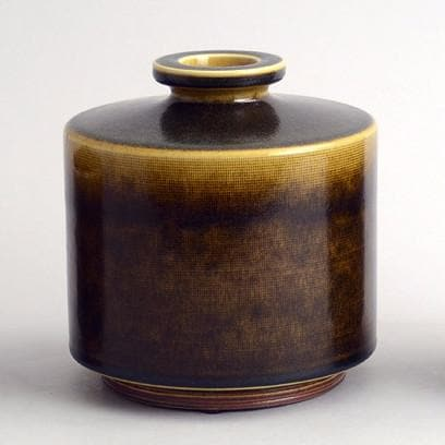 Stoneware vase with glossy brown glaze by Berndt Friberg