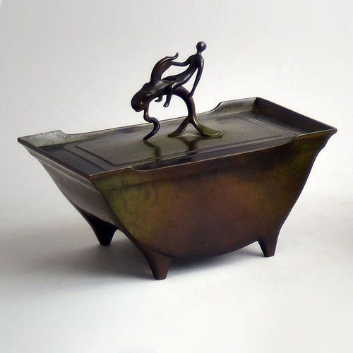 Bronze lidded, footed box by Just Andersen N9041
