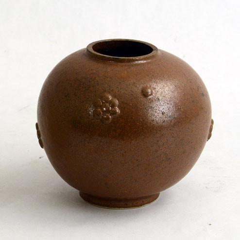 Brown stoneware vase by Arne Bang
