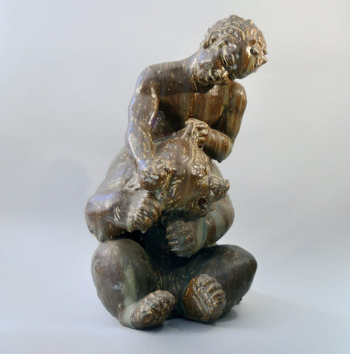 Monumental Sculpture of Satyr Wrestling Bear by Knud Kyhn for Royal Copenhagen N2865