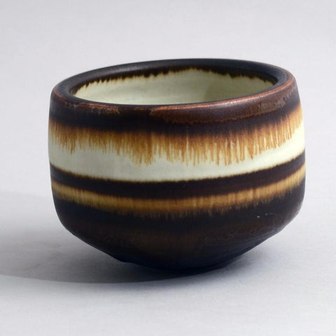 Unique stoneware round vase/bowl by Karl Scheid