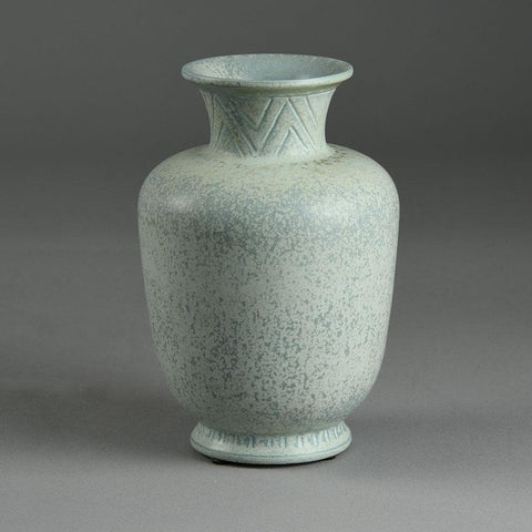 Gunnar Nylund for Rorstrand vase with matte blue gray glaze E7071