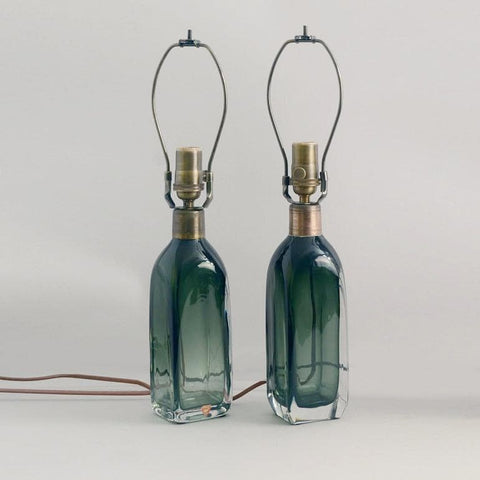 Pair of glass lamps in green and clear glass by Carl Fagerlund