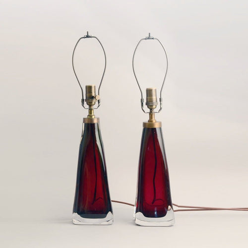 Pair of glass lamps in red and clear glass by Carl Fagerlund N7407 and N8940