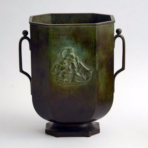 Bronze footed and handled vase by Just Andersen for GAB