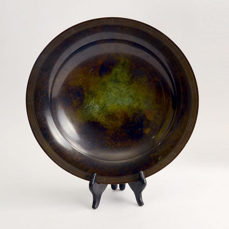 Charger/low bowl in light bronze by Just Andersen