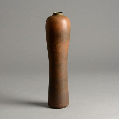 Gunnar Nylund for Rorstrand, Sweden  Stoneware vase with brown glaze for sale