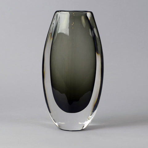 "Gray glass ""Sommerso"" vase by Nils Landberg for Orrefors"