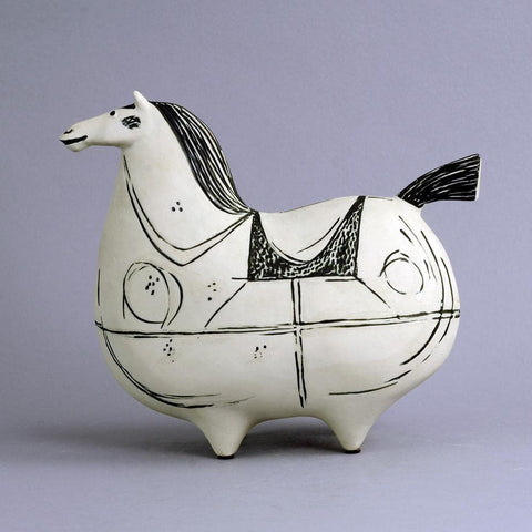 Stoneware horse with hand painted decoration by Stig Lindberg N8883