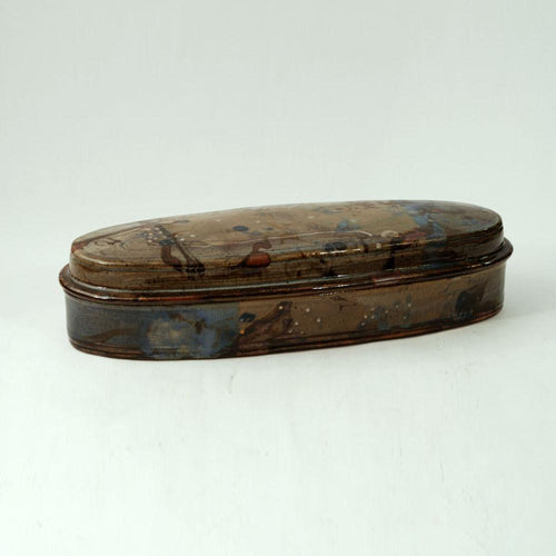 Unique stoneware lidded oval vessel by John Glick