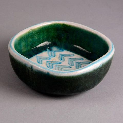 Guido Gambone green and white bowl