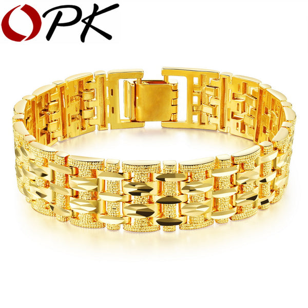 Dazzling Gold Plated Bracelet Bangle with Thick Chain