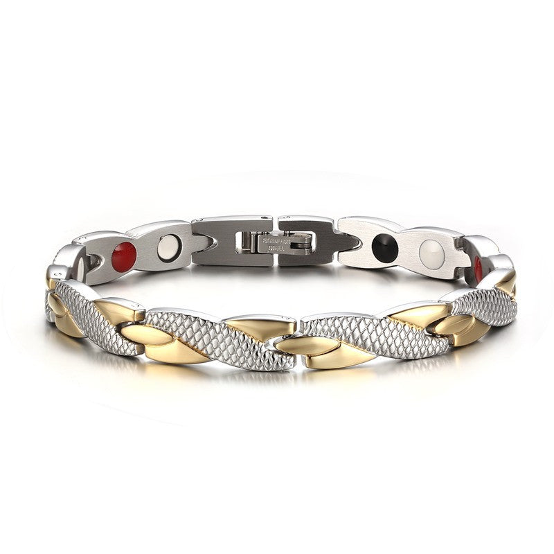 Stainless Steel Casual Magnetic Health Bracelet