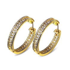 Copper Cubic Zirconia Gold Plated Fashion Hoop Earrings - Diamonds And Hoops Fashion Jewelry