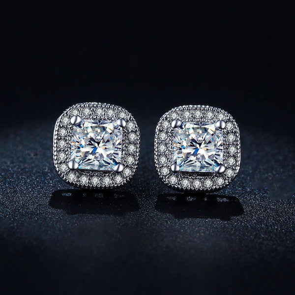 Princess White Gold Plated Big Square stud earrings