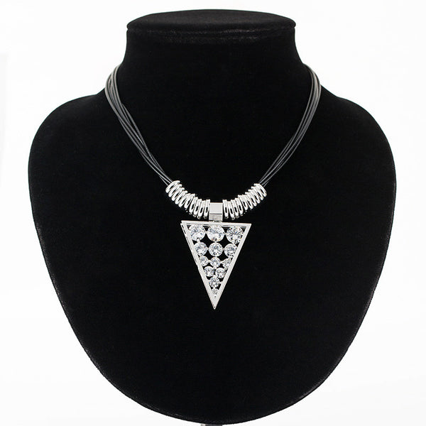 Leather String Plated Triangle Necklace
