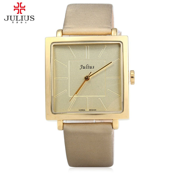 Radiant Antique Square Leather Rose Gold Watch