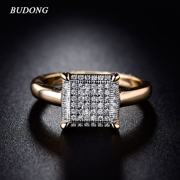Large Trendy Square Geometric Ring